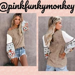 CLEARANCENew Boutique Khaki Printed Sleeve Sweater